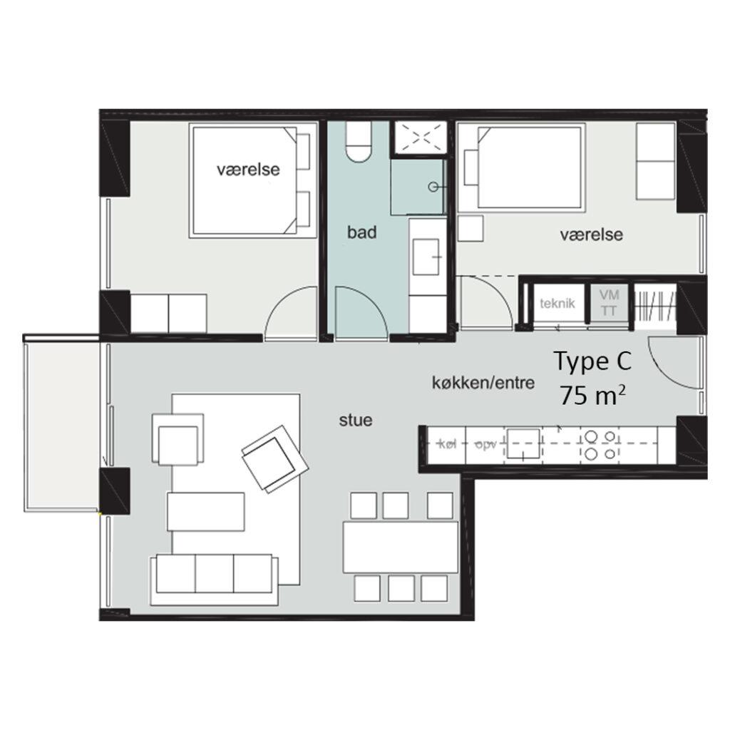 Rosenbæk Passagen, Type C, 3 værelser, 75 kvm