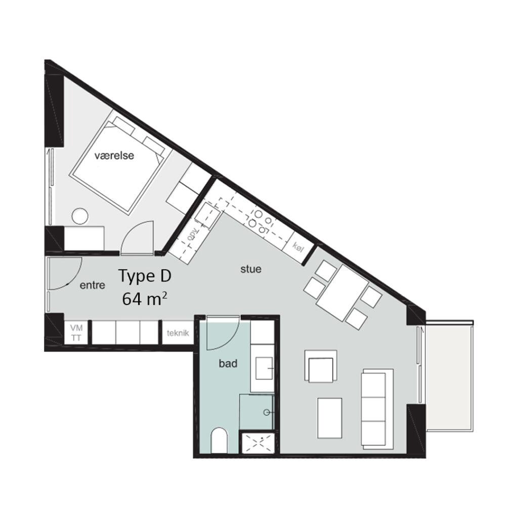 Rosenbæk Passagen, Type D, 2 værelser, 64 kvm