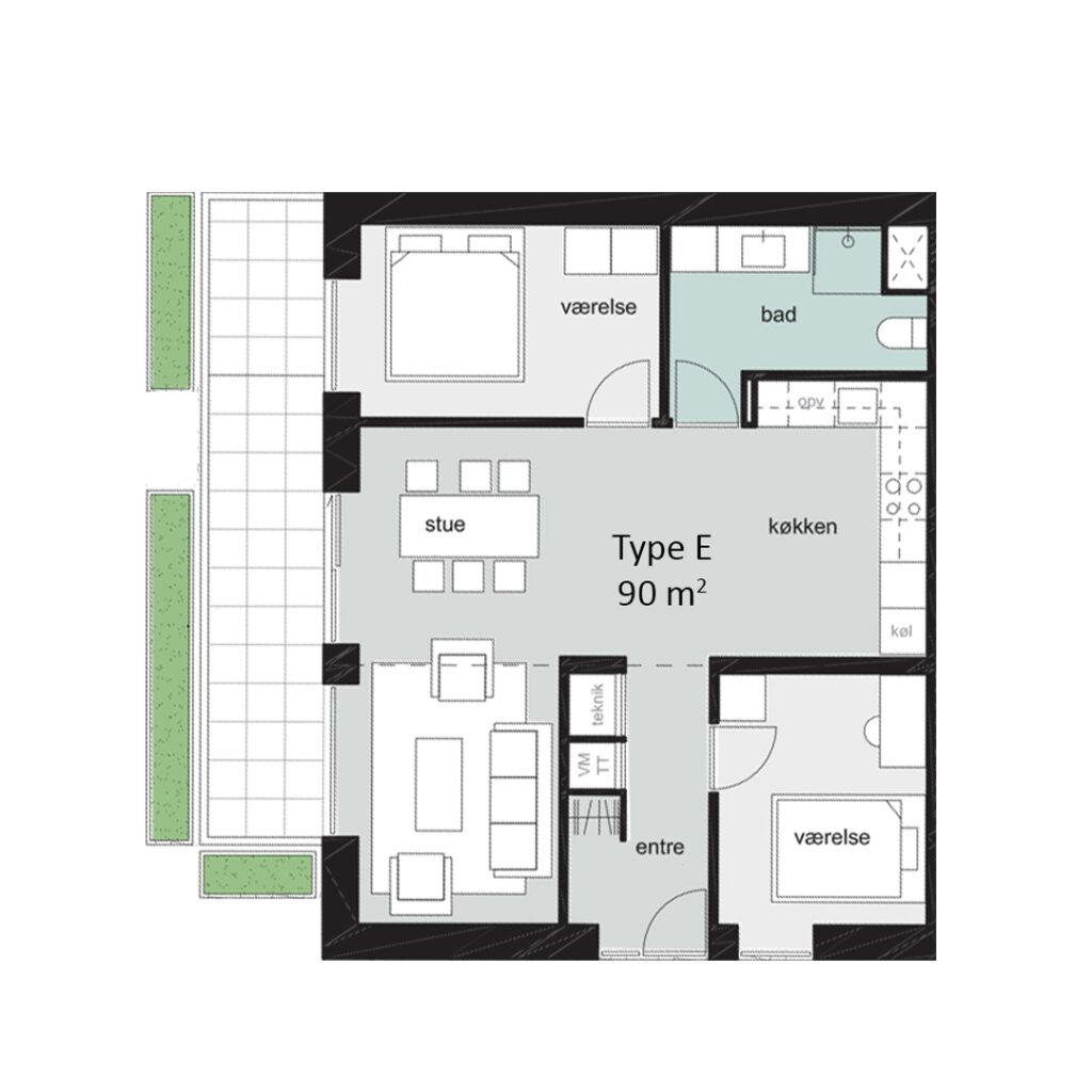 Rosenbæk Passagen, Type E, 3 værelser, 90 kvm