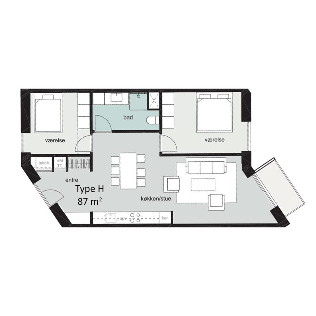 Rosenbæk Passagen, Type H, 3 værelser, 87 kvm