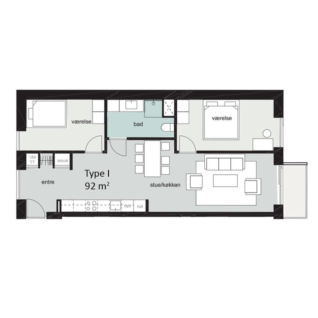 Rosenbæk Passagen, Type I, 3 værelser, 92 kvm