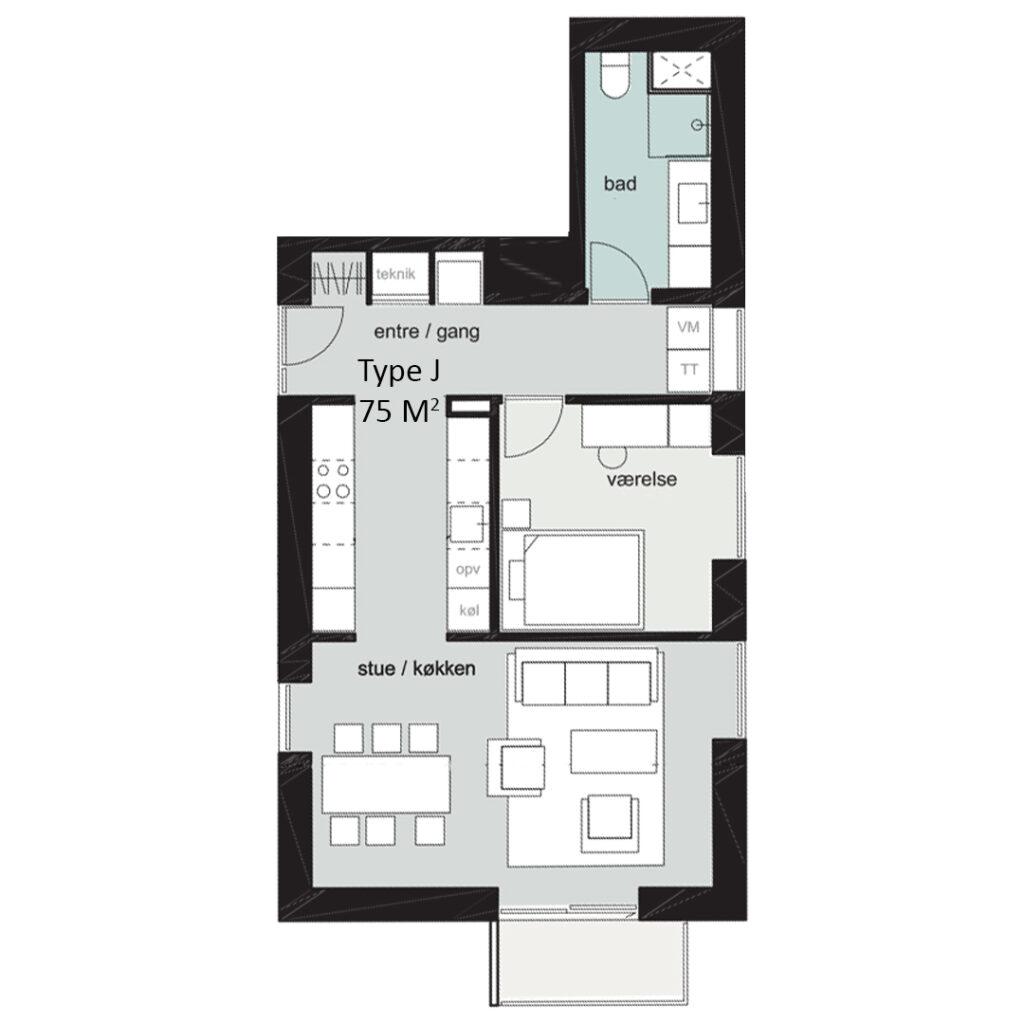 Rosenbæk Passagen, Type J, 2 værelser, 75 kvm